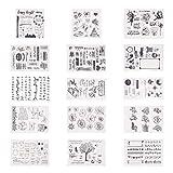 PandaHall Elite 15 Blätter Sortiertes Muster Silikon Transparent Klar Silikon Stempel/Siegelblätter Für DIY Scrapbooking/Fotoalbum Dekorative