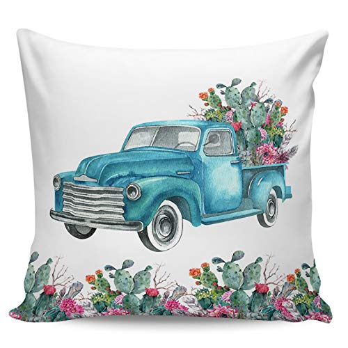 Fundas de almohada de 60,96 x 60,96 cm Verano Tropical Fresco Cactus Azul Camión Fundas Decorativas Fundas de Cojín Cuadrado para Decoración del Hogar