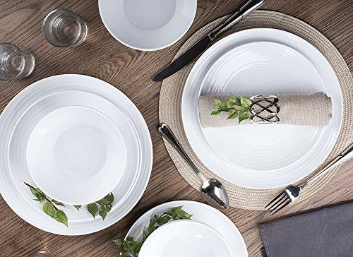 Parhoma White Melamine Plastic Home Dinnerware Set, 12-Piece Service for 4