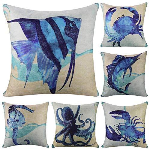 Camisin - Set di 6 federe per cuscino stile mediterraneo, motivo oceano quadrato, 45 x 40 cm, tema mare