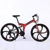 ZHTX Montagne Vélo Route Vélo de Course Vélo Pliable vélo 26 Pouces en Acier 21/24/27/30 Speed Bicycles Freins à Disque Double (Color : Red, Size : Six Cutter Wheels)