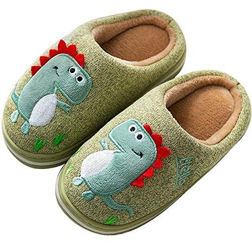 LÄTT LIV Kids Cute House Slippers Cozy Dinosaur Slippers Boys Girls Warm Plush Winter Indoor Shoes Non-Slip(Green,8-9 Toddler)