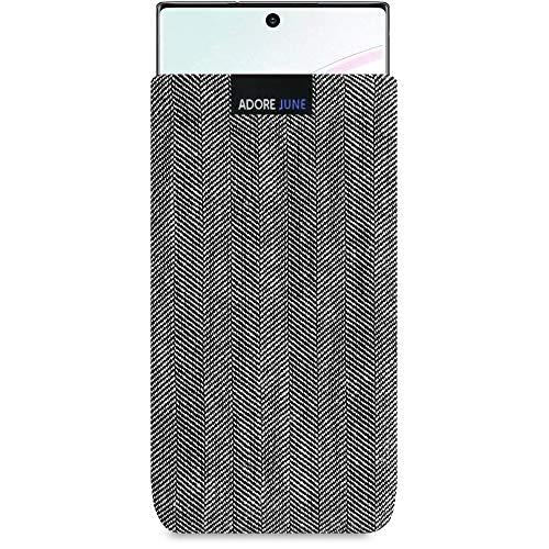 Adore June Business Tasche kompatibel mit Samsung Galaxy Note 10 Handytasche aus charakteristischem Fischgrat Stoff - Grau/Schwarz, Schutztasche Zubehör mit Bildschirm Reinigungs-Effekt