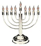 Aviv Judaica Classic Electric Hanukkah Menorah - Includes 9 Flickering Bulbs, Round Base