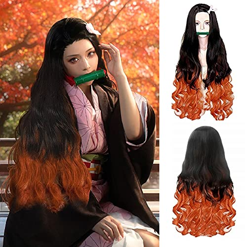 IMEYLE Wig Orange Gradient Black Cosplay Synthetic Wig Long Natural Wavy Wig For Anime