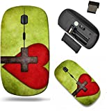 Liili Wireless Mouse Travel 2.4G Wireless Mice with USB Receiver, Click with 1000 DPI for notebook, pc, laptop, computer, mac book Christian cross and red heart on green textured background IMAGE ID 3