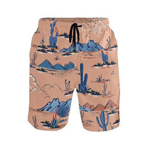 BONIPE Herren Badehose Kaktus Kakteen Mountain Sunrise Quick Dry Boardshorts mit Kordelzug und Taschen Gr. S 7-9, mehrfarbig