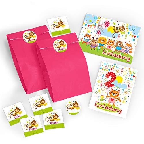 JuNa-Experten 8 Einladungskarten zum 2. Kindergeburtstag für Mädchen / Bunte Einladungen zum Geburtstag für Mädchen Süße Tierchen / Süße Katze incl. 8 Umschläge, 8 Party-Tüten / rosa, 8 Aufkleber