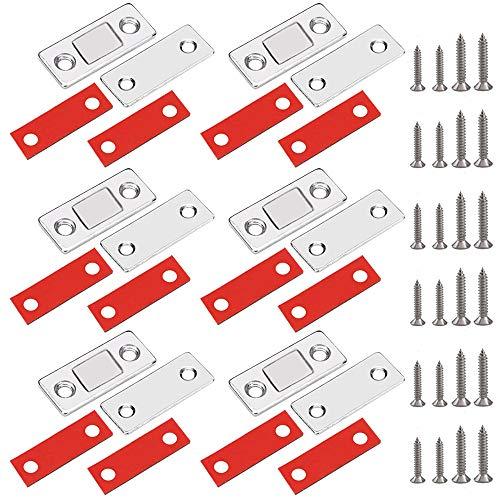 YUSHIWA 6 Stück Magnetschnäpper Schranktür Magnet Stark Schrankmagnet Ultra Dünn Tür Magnet Selbstklebend Tür Schublade Magnetverschluss Türmagnete für Möbel Schiebetür Türverschluss für Balkontür