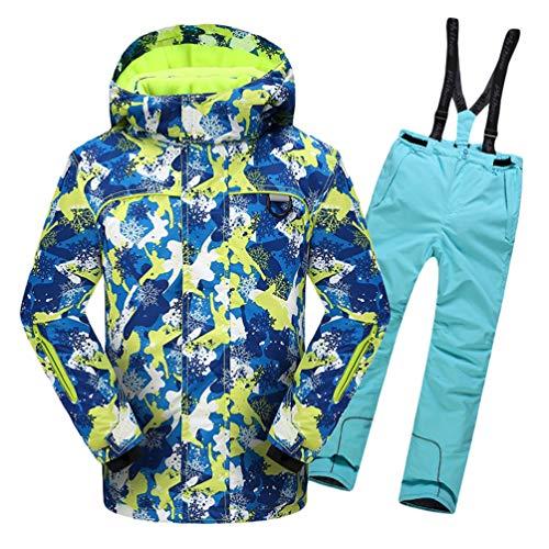 Lvguang Jungen & Mädchen Berg Wasserdicht Warm Skibekleidung Winddicht Regen Schnee Kapuzenjacke & Skihose (Himmelblau#3, Asia M)