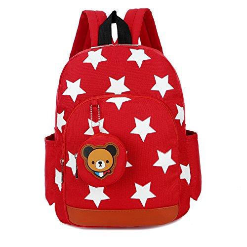 AnKoee Patrón de Estrella Infantil Mochila Bolsas Boy Mochila Escolar de Niña 24x11x32cm