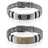 Flongo 2 Pcs Bracelets Réglable en Acier Inoxydable pour Homme Femme Motif de Arbre...