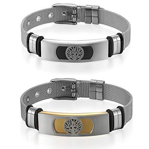 Flongo 2 Pcs Bracelets Réglable en Acier Inoxydable pour Homme Femme Motif de Arbre de Vie Couleur Argent/Or Bracelet Manchette à la Mode
