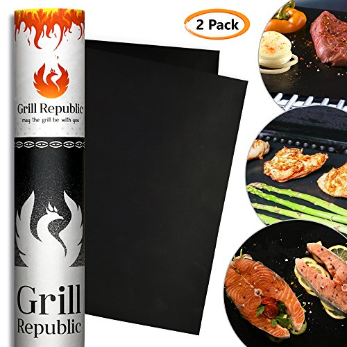 BBQ Grill Mat - Set of 2 Premium Heavy Duty Non Stick Grill mats - FDA Approved Black Outdoor Barbecue Grill matts - Reusable 500 Times - Easy to Clean - 13 x 15.7 inch