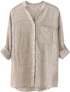 FRPE Mens Solid Vintage V-Neck Long Sleeve Lightweight Button Down Shirts