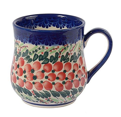 Ceramica Tradizionale Polacca, Tazza in Ceramica Fatta e Dipinta a Mano nello Stile Boleslawiec (350ml), Q.102.Cranberry