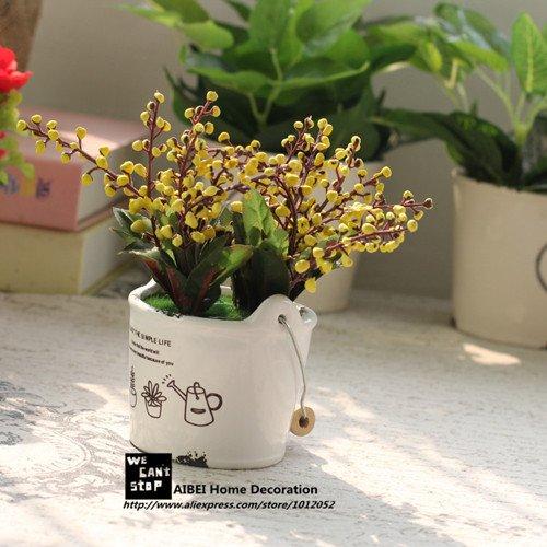Style Zakka Rural Pots en céramique Planters Fruits Propices Fleurs artificielles Bonsai Simulation Plantes vertes jardin Décor