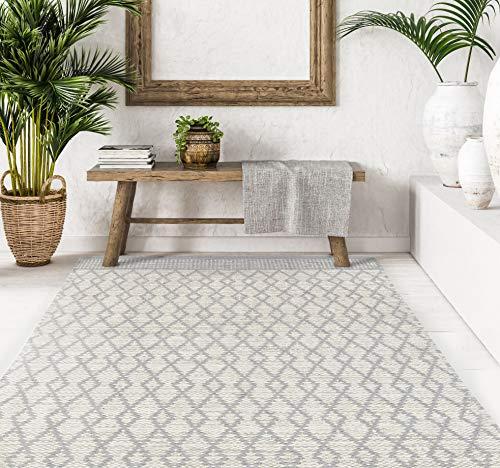 VIVACE CarpetLiving.Com - Tappeto bay - 140x200 cm   Tessuto a Mano   Griggio/Chiaro   Tappeto di Design Moderno   Soggiorno, Camera da Letto, Cucina (Grigio Chiaro)