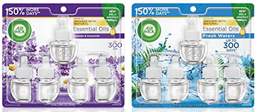 Air Wick Plug in Scented Oil 5 Refills, Lavender & Chamomile, Essential Oils, Air Freshener and Air Wick Plug in Scented Oil 5 Refills, Fresh Waters, (5x0.67oz), Essential Oils, Air Freshener