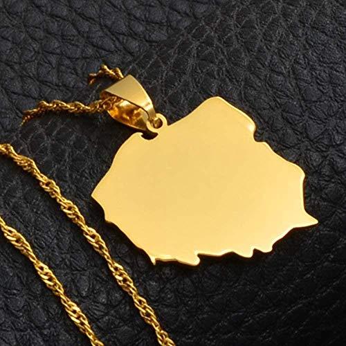 quanjiafu Collar Polska Map Collares Pendientes para Mujer Joyería Mapas De Polonia Cadena Collar