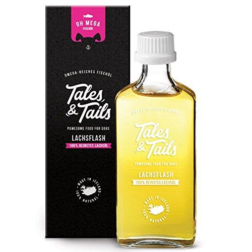 Tales & Tails® - 100% Lachsöl für Hunde, Barf Öl, kaltgepresst, reines Naturprodukt, Fischöl, Ergänzungsfuttermittel
