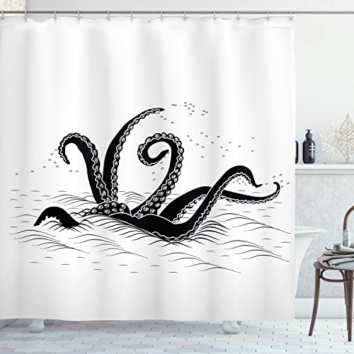 Ambesonne Octopus Shower Curtain, Mythological Kraken Octopus Tentacles Monster in The Sea Illustration Nautical, Cloth Fabric Bathroom Decor Set with Hooks, 75' Long, Black White