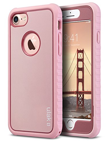 ULAK iPhone 8 & 7 Case, Shockproof Flexible Durability TPU Bumper Case, Durable Anti-Slip, Front and Back Hard PC Defensive Protection Cover for Apple iPhone 7/8 4.7 inch, Rose Gold