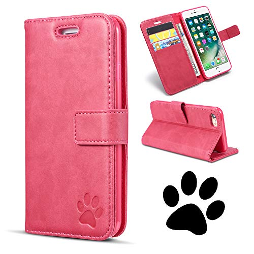 QLTYPRI iPhone 6 Case iPhone 6S Case Premium PU Leather Cover TPU Bumper with Card Holder Kickstand Shockproof Embossed Bear Paw Pattern Flip Wallet Case for iPhone 6S - Rose Red