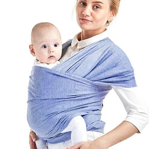 Phiraggit Fular Portabebé, Manta para Lactancia Un Tamaño para Todos - Elastico Porta bebé Wrap para Madre y Padre- Porteo Seguro y Ergonómico, portabebés para recién nacidos hasta 20 kg (Azul)