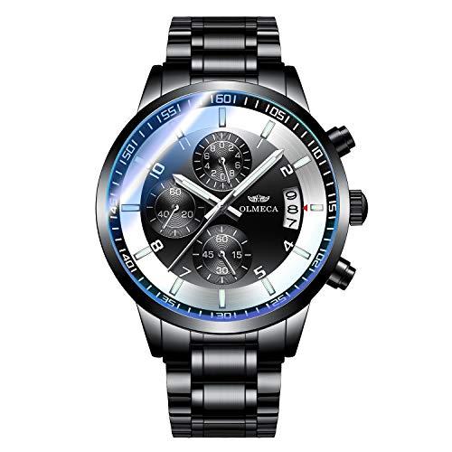 OLMECA Men's Watches Sport Fashion Analog Quartz Watches Stainless Steel Chronograph Date Waterproof Wrist Watch for Men Black Color 0902M-QHYDgd