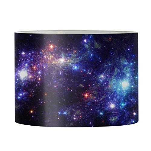 Aulaygo Pantalla redonda para lámpara de mesa, lámpara de pie, grande, 43,7 x 25,4 cm, pantalla de metal con impresión de galaxia, marco para dormitorio, sala de estar, decoración de casa de campo