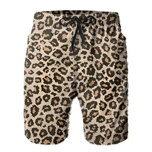 Pantalones cortos sueltos para hombre, cómodos trajes de baño, pantalones cortos de moda con bolsillos, piel de leopardo fresca