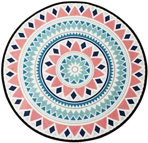 LYB Alfombra súper Suave y Antideslizante Alfombra Redonda De La Alfombra Nórdica Sala De Estar Mesa De Café Sillas De Colchoneta Colchoneta Rosa Y Azul Claro (Color : 120 * 120cm)
