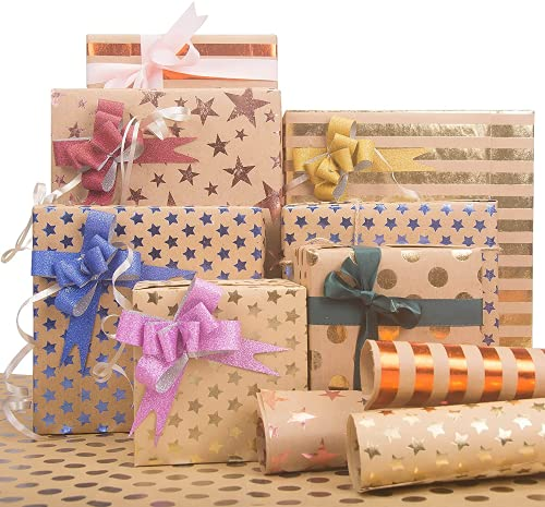 Larcenciel Geschenkpapier Set, 7 Blatt Geschenkverpackung Papier mit Aufkleber + Band + Doppelseitiges Klebeband Kraftpapier Verpackung Papier für DIY Craft, Geburtstag, Party (70x50 cm)