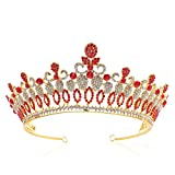 Celada de Novia Princesa Reina Tiara de la Corona, Corona de la Vendimia del Rhinestone de la Venda para la Ceremonia de Boda de la Novia del Partido Grandbanquet,Rojo