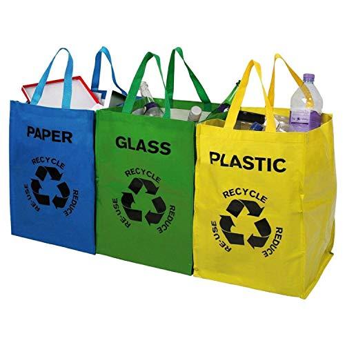 Guilty Gadgets Juego de 3 bolsas de reciclaje de vidrio, plástico, papel, tamaño grande, 40 l, bolsa de basura