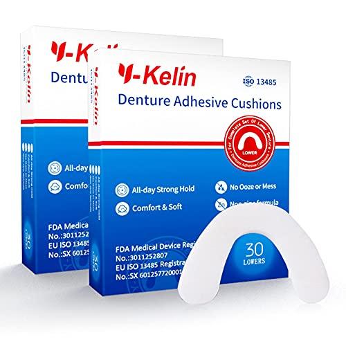 Cojín adhesivo para dentadura inferior Y-Kelin, 30 almohadillas (2 Paquetes)