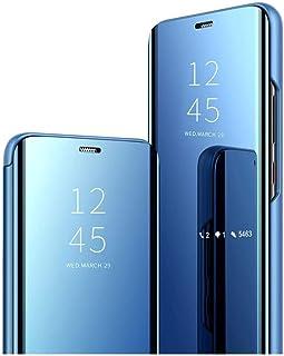 غطاء شفاف شفاف لهاتف Oppo Find X2 Pro 5G مسند قابل للطي مع حماية الشاشة الكاملة - حامل مرآة مطلي بالكهرباء - أزرق