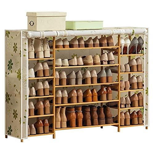 Oxford Paño Zapato Muebles Simple Muebles Multifuncionales Zapato de Bambú Zapato Zapato de Polvo Plegable con Cubierta de Tela (Color : Beige)