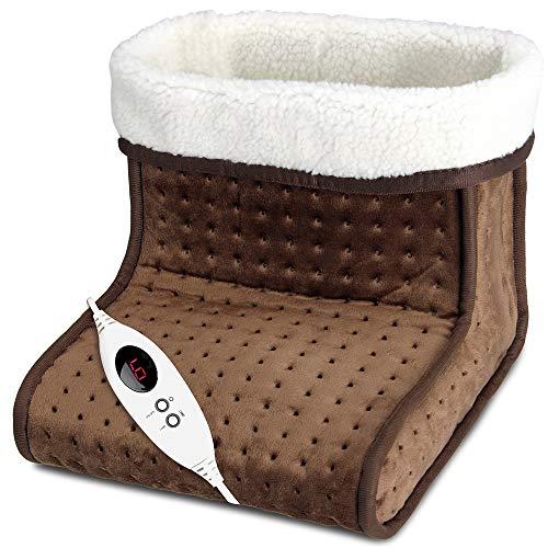 Deuba scaldapiedi elettrico riscaldamento piedi 6 livelli di temperatura - per calzature fino al 47 - fodera lavabile spegnimento automatico