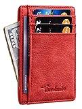 Travelambo Front Pocket Minimalist Leather Slim Wallet RFID Blocking Medium Size (OD Red)