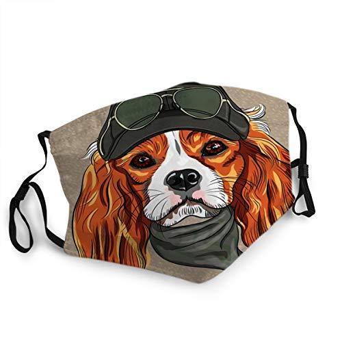 Herren Damen Mund Schal Gesicht Feld Hipster Rot Hund Cavalier King Charles Spaniel Rasse in Cap und Krawatte Khakis Brille