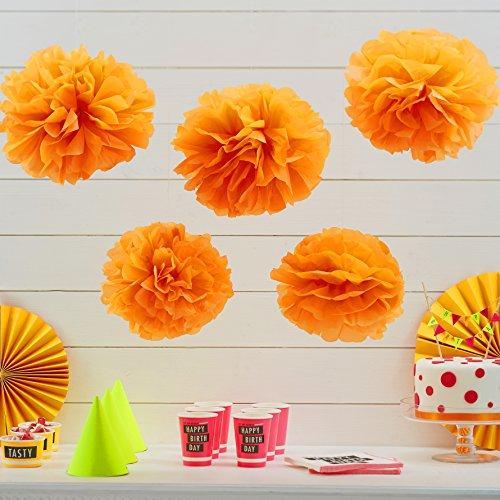 Ginger Ray Néon Orange Fluorescent Papier de Soie Pom poms 5 Pack Mariage & Partie décorations - néon Anniversaire