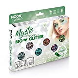 Mística Purpurina Gruesa Biodegradable Eco de Moon Glitter - Purpurina 100% Cosmética Bio para Cara, Cuerpo, Uñas, Pelo y Labios - 3g - Equipo de Caja