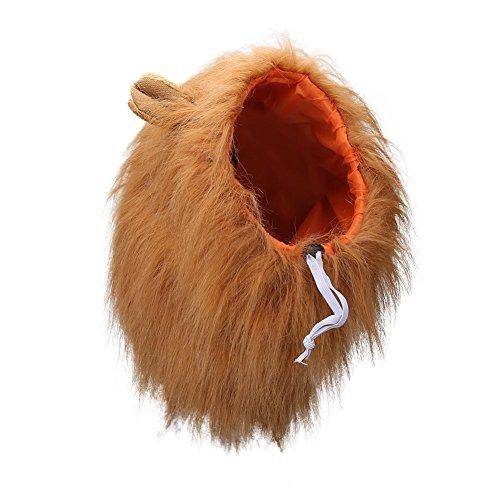 Vivifying Hundekostüm Löwenmähne, Verstellbar Hunde Perücke mit Ohren für Mittlere und Große Hunde (Braun)
