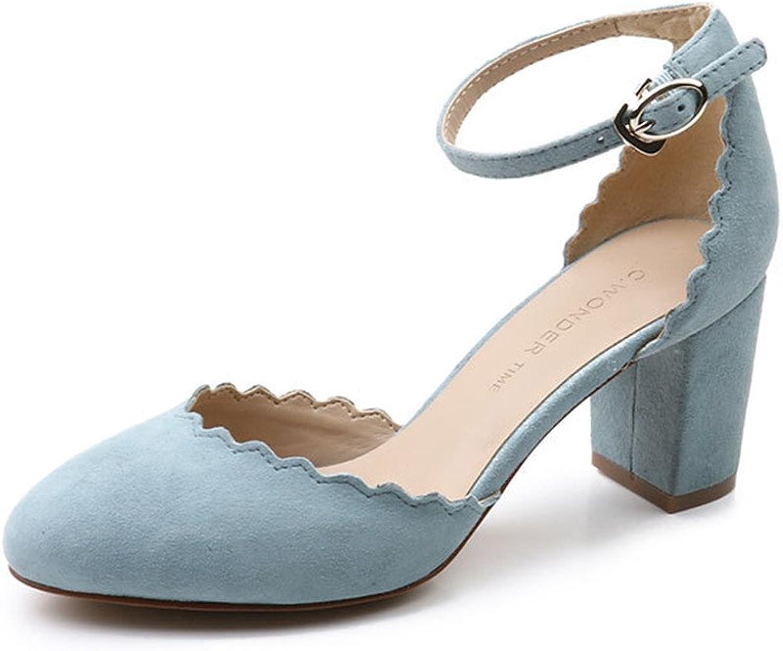C. Wonder Time Real Suede Leather Block Heel Sandals