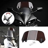 Bruce & Shark オートバイ汎用 調整可能 クリップオン フロントガラス ウィンドシールド エクステンション ウインド ディフレクター 13cm*36.5cm ダークスモーク