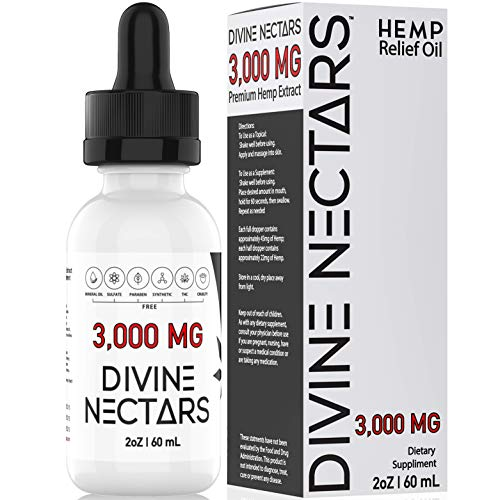 Hemp Oil Drops by Divine Nectars Organic Hemp Oil 3000mg Hemp Oil for Pain Relief Stress Relief Mood Support Anxiety Relief Joint Pain Relief MCT Oil Natural Premium Hemp Extract Omega 3 6 9