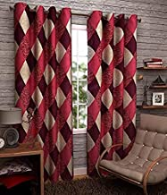 DECO READY 2 Piece Eyelet Polyester Door Curtain -7Ft-Maroon-Check