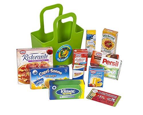 Polly Kaufladen Zubehör Grüner Koziol Taschelini Einkaufskorb gefüllt mit Miniaturen | Kinder Spielzeug für den Kaufmannsladen | Kinderkaufladen